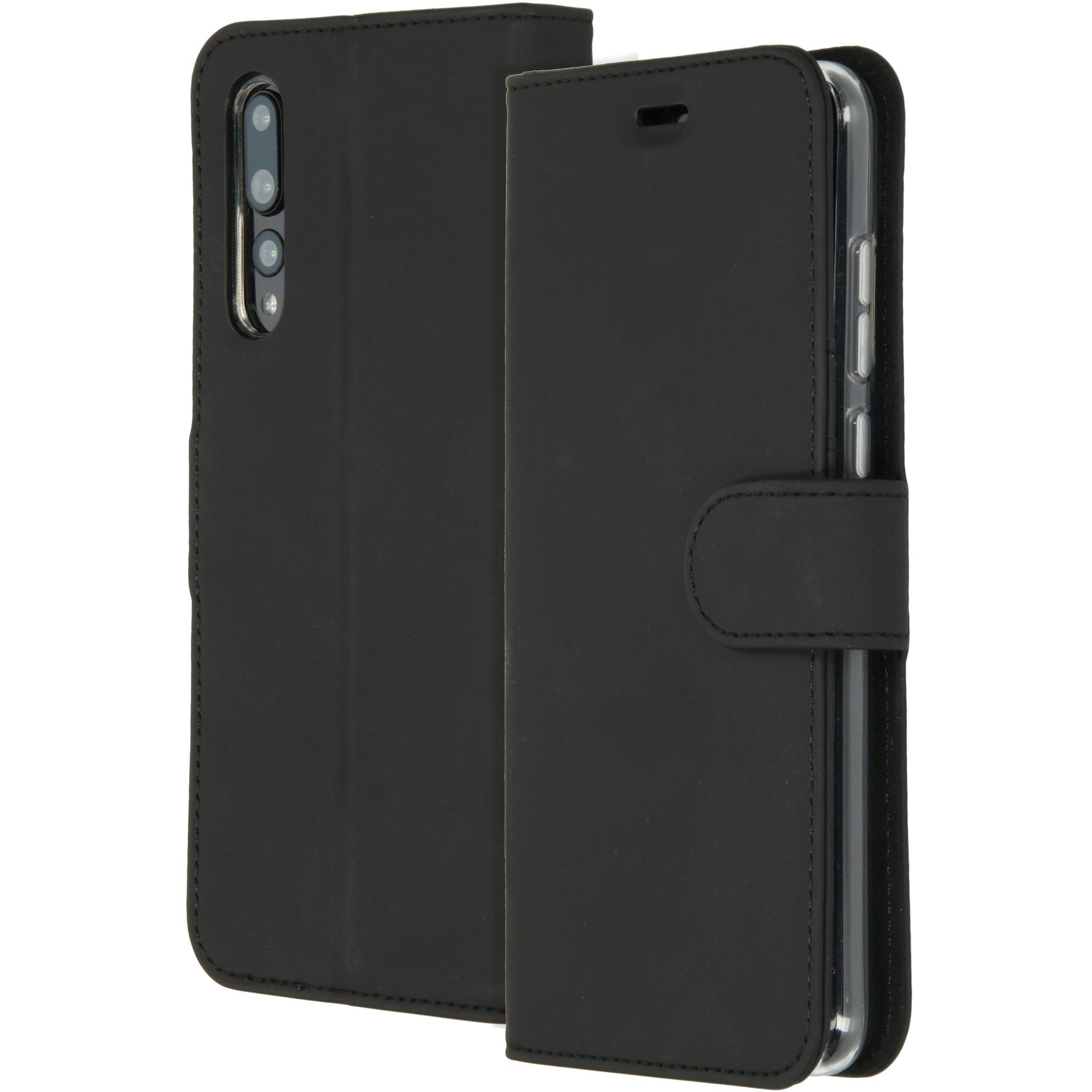 Accezz Schwarzes Wallet TPU Booklet für das Huawei P20 Pro