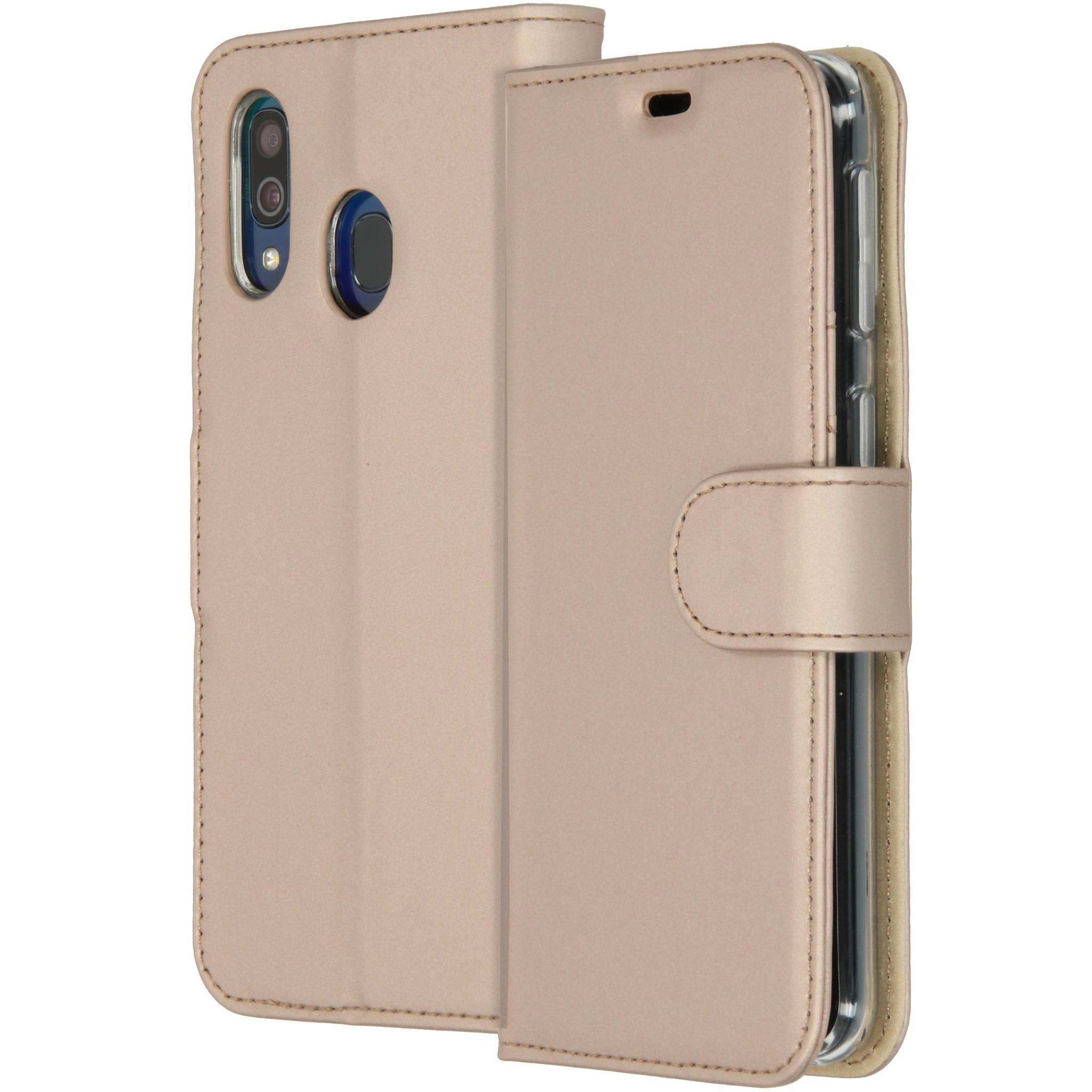 Accezz Wallet TPU Booklet Gold für das Samsung Galaxy A40