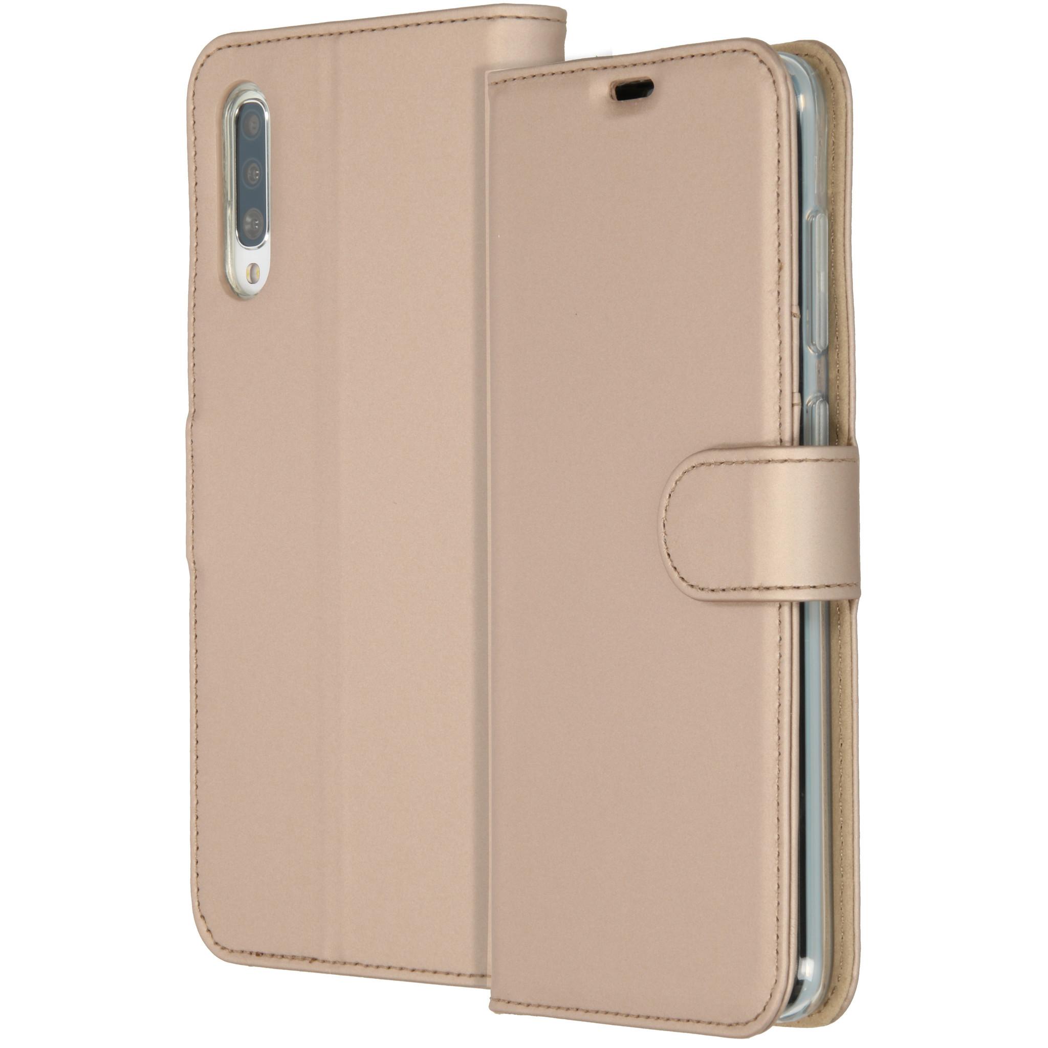 Accezz Wallet TPU Booklet Gold für das Samsung Galaxy A70