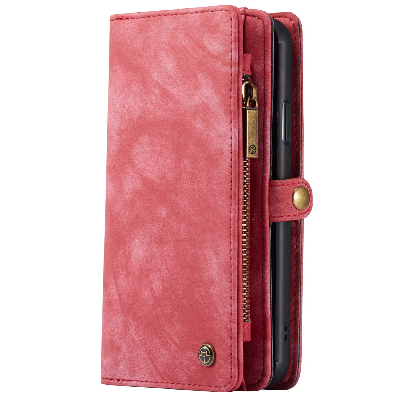 CaseMe Luxuriöse 2-in-1-Portemonnaie-Hülle Leder Rot für iPhone 11