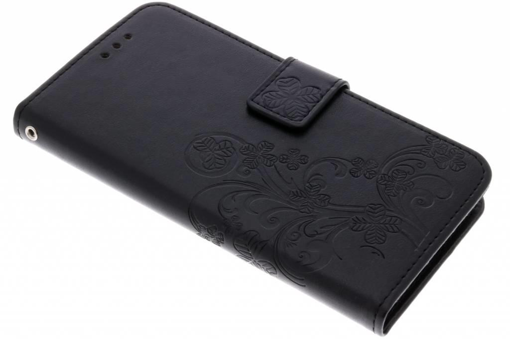 Kleeblumen Booktype Hülle Schwarz für Huawei P20