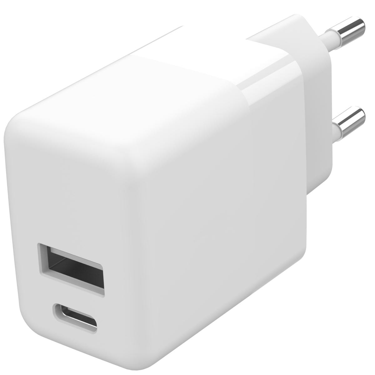 Accezz USB-C & USB-A-Wand-Ladegerät + Power Delivery - 20W - Weiß