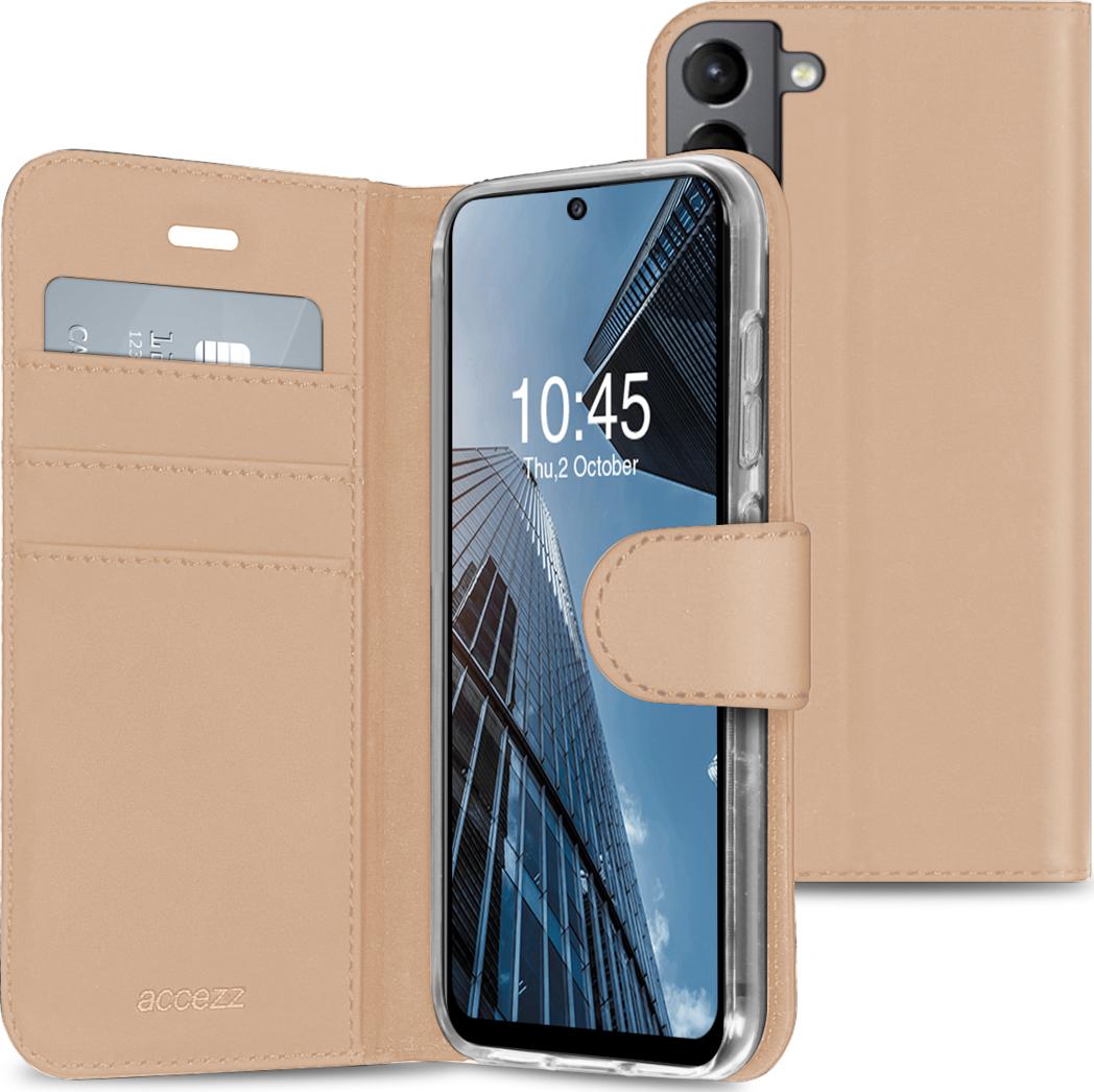 Accezz Wallet TPU Booklet für Samsung Galaxy S21 FE - Gold