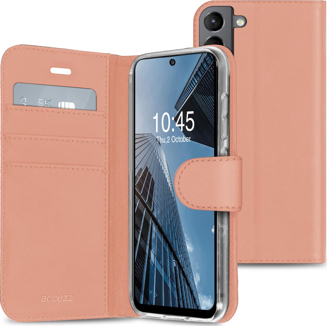 Accezz Wallet TPU Booklet für Samsung Galaxy S21 FE - Roségold
