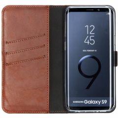 Selencia Echtleder Booktype Hülle Hellbraun für Samsung Galaxy S9