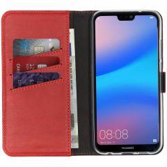 Selencia Echtleder Booktype Hülle Rot für Huawei P20 Lite