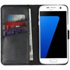 Selencia Echtleder Booktype Hülle Schwarz für Samsung Galaxy S7