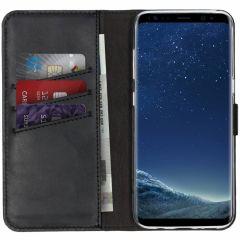 Selencia Echtleder Booktype Hülle Schwarz für Samsung Galaxy S8