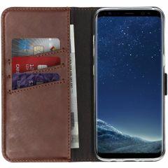Selencia Echtleder Booktype Hülle Braun für Samsung Galaxy S8