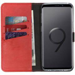Selencia Echtleder Booktype Hülle Rot für Samsung Galaxy S9