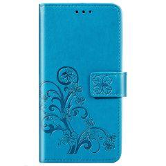 Kleeblumen Booktype Hülle Türkis Samsung Galaxy A01