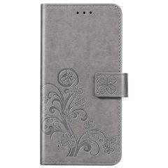 Kleeblumen Booktype Hülle Grau Samsung Galaxy A01
