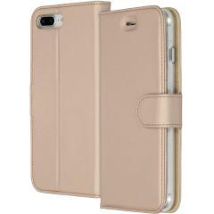 Accezz Goldfarbenes Wallet TPU Booklet für iPhone 8 Plus / 7 Plus