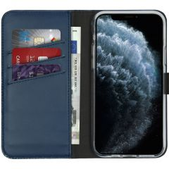 Selencia Echtleder Booktype Hülle Blau für das iPhone 11 Pro