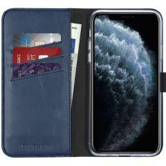 Selencia Echtleder Booktype Hülle Blau für iPhone 11 Pro Max