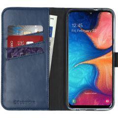 Selencia Echtleder Booktype Hülle Blau für Samsung Galaxy A20e