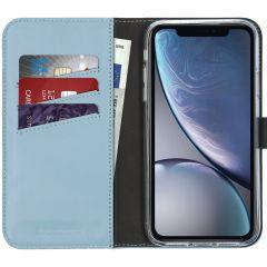 Selencia Echtleder Booktype Hülle Hellblau für das iPhone Xr