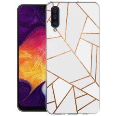 iMoshion Design Hülle Galaxy A50 / A30s - Grafik-Kupfer - Weiß / Gold
