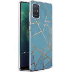 iMoshion Design Hülle Galaxy A71 - Grafik-Kupfer - Blau / Gold