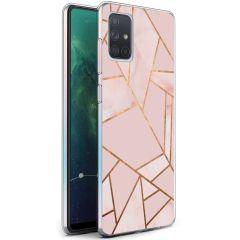 iMoshion Design Hülle Galaxy A71 - Grafik-Kupfer - Rosa / Gold