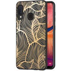 iMoshion Design Hülle Samsung Galaxy A20e - Blätter - Gold / Schwarz