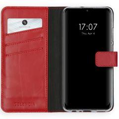 Selencia Echtleder Booktype Hülle Rot Huawei P Smart (2020)