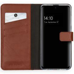 Selencia Echtleder Booktype Hülle Hellbraun für Samsung Galaxy A51