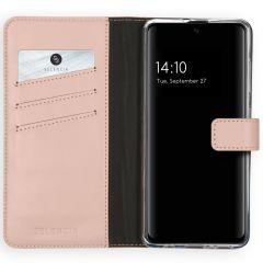 Selencia Echtleder Booktype Hülle Rosa für Samsung Galaxy A51