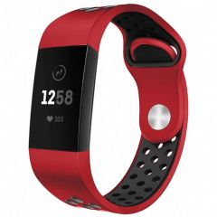 iMoshion Silikonband Sport Fitbit Charge 3 / 4 - Rot / Schwarz