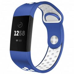 iMoshion Silikonband Sport Fitbit Charge 3 / 4 - Blau / Weiß
