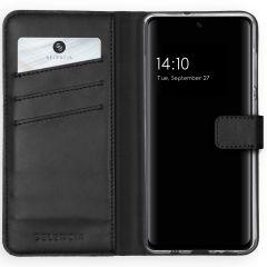 Selencia Echtleder Booktype Hülle Schwarz für das Samsung Galaxy A51