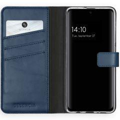 Selencia Echtleder Booktype Hülle Dunkelblau für Samsung Galaxy A51