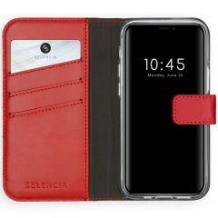 Selencia Echtleder Booktype Hülle iPhone 12 Mini - Rot