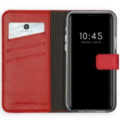 Selencia Echtleder Booktype Hülle iPhone 12 (Pro) - Rot