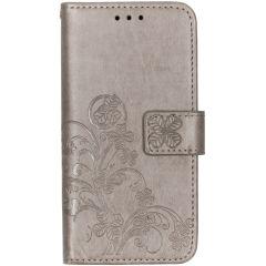 Kleeblumen Booktype Hülle Grau für das Samsung Galaxy A40