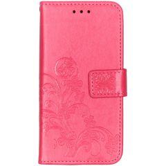 Kleeblumen Booktype Hülle Fuchsia für das Samsung Galaxy A40