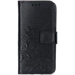 Kleeblumen Booktype Hülle Schwarz für das Samsung Galaxy A40