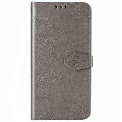 Mandala Booktype-Hülle Grau für das Samsung Galaxy S20