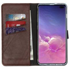 Selencia Echtleder Booktype Hülle Braun für Samsung Galaxy S10 Plus