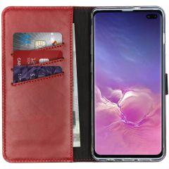 Selencia Echtleder Booktype Hülle Rot für das Samsung Galaxy S10 Plus