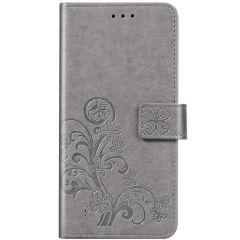 Kleeblumen Booktype Hülle Grau Xiaomi Redmi Note 8 / Note 8 (2021)