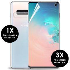 iMoshion Displayschutzfolie 3er-Pack + Kameraschutz Glas Galaxy S10