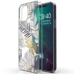 iMoshion Design Hülle iPhone 12 (Pro) - Blätter - Schwarz / Gold