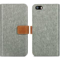 iMoshion Luxuriöse Canvas-Klapphülle iPhone SE / 5 / 5s - Grau