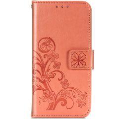 Kleeblumen Booktype Hülle Samsung Galaxy A42 - Orange