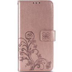 Kleeblumen Booktype Hülle Samsung Galaxy A42 - Roségold