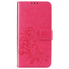 Kleeblumen Booktype Hülle Samsung Galaxy A42 - Fuchsia