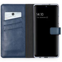 Selencia Echtleder Booktype Hülle Samsung Galaxy A42 - Blau