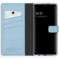 Selencia Echtleder Booktype Hülle Samsung Galaxy A42 - Hellblau