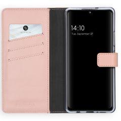 Selencia Echtleder Booktype Hülle Samsung Galaxy A42 - Rosa